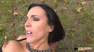 Brunette milf receives anal while lactating